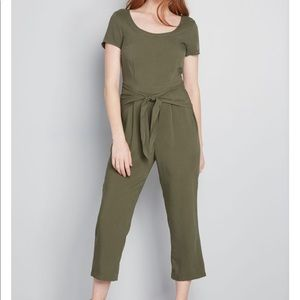 ModCloth olive cropped jumpsuit